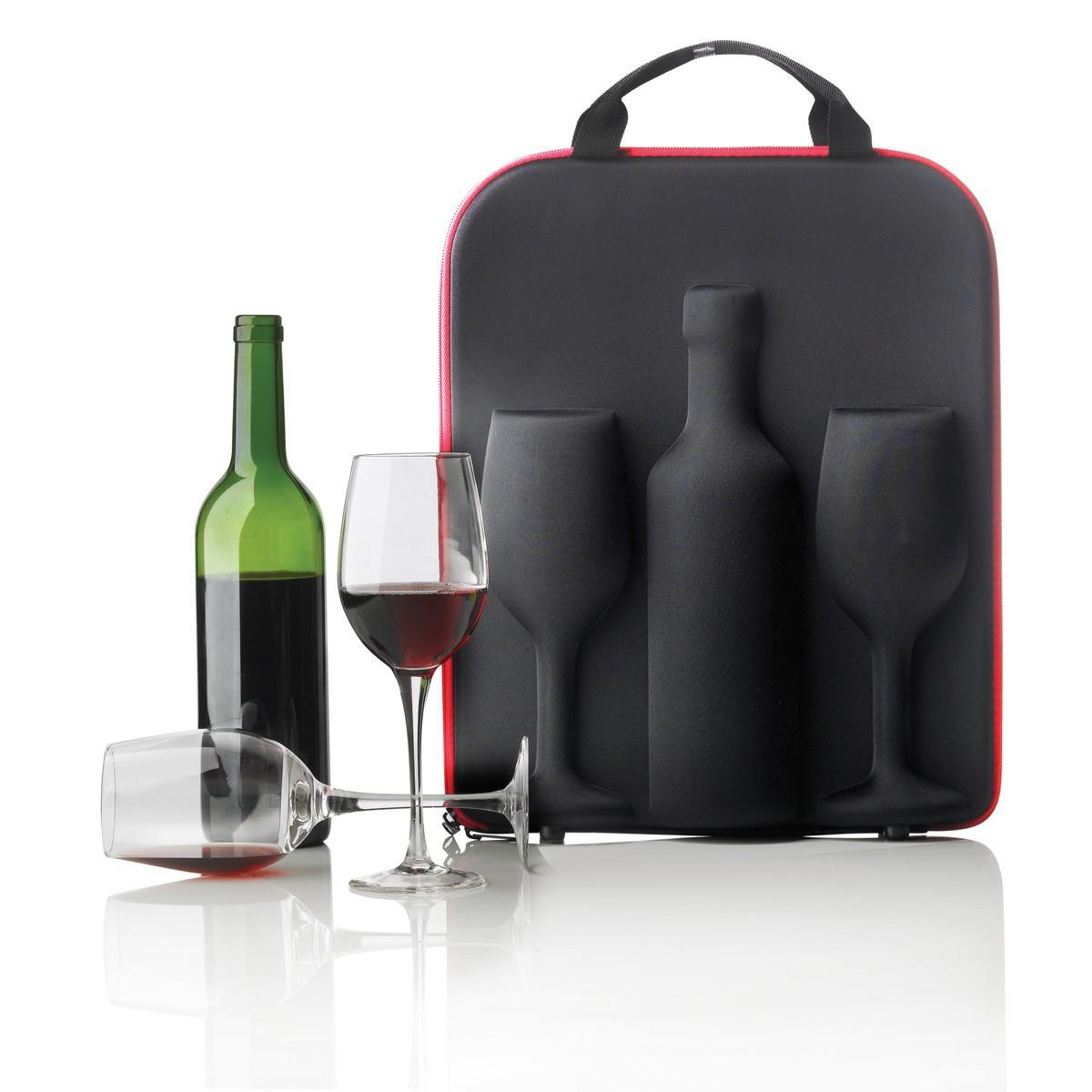 Set portabicchieri e bottiglia di vino